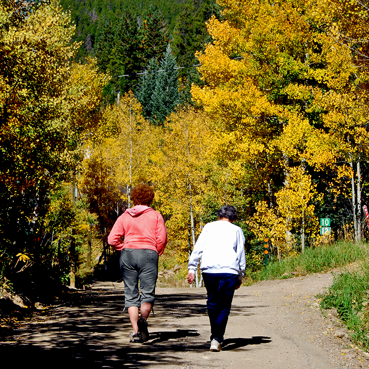 Mother and daughter walking down a path among the golden aspens of fall.